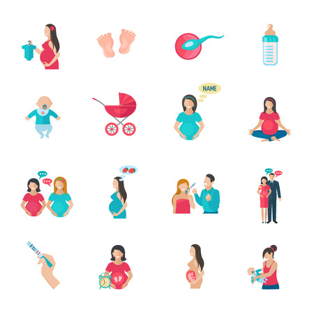 reproduction: Pregnancy reproduction and childbirth icons flat set isolated vector illustration