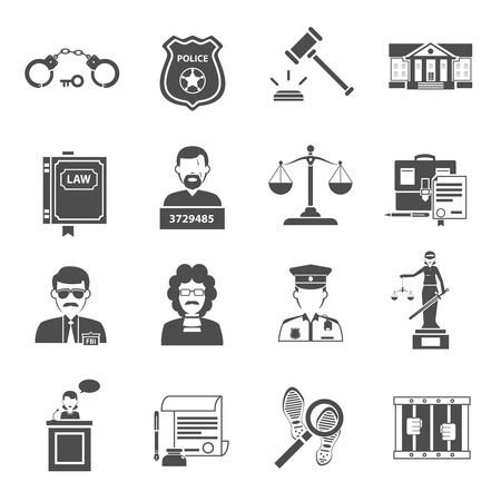 courthouse: Law icon flat black set with lawyer courthouse judge isolated vector illustration