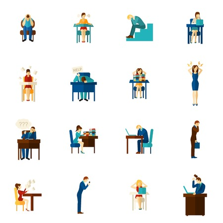 hysterical: Frustration and upset people man and woman hysterical emotion flat color icon set isolated vector illustration