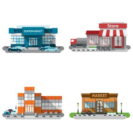 Winkels winkels en een supermarkt gebouwen platte decoratieve pictogrammen instellen geïsoleerde vector illustratie