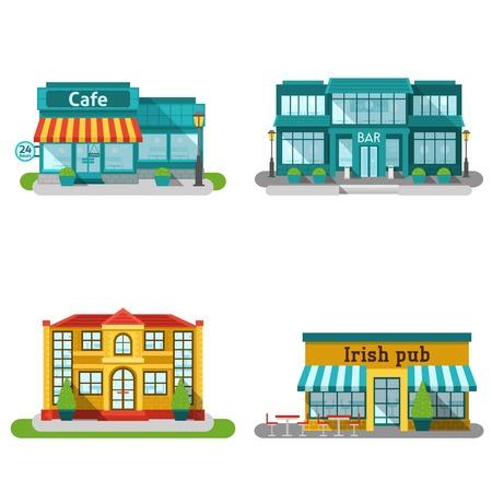Café bar en het restaurant gebouwen platte decoratieve pictogrammen instellen geïsoleerde vector illustratie