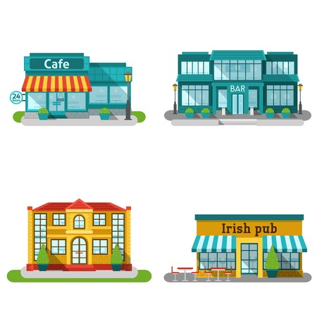 exterior element: Cafe bar and restaurant buildings flat decorative icons set isolated vector illustration