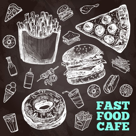 Fast food chalkboard decorative icons set with sandwich hamburger and chicken isolated vector illustration Illustration