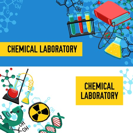 chain reaction: Laboratory horizontal banners set with chemical equipment and research elements isolated vector illustration