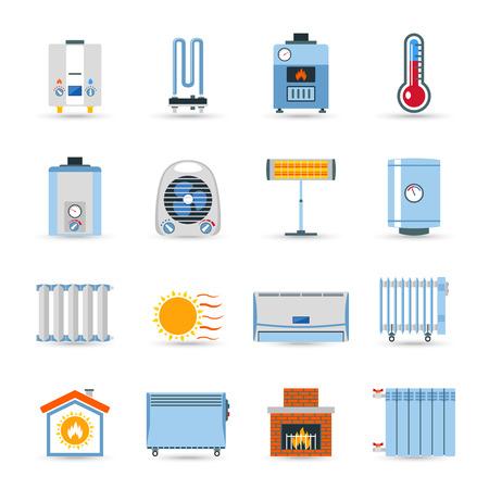 aire acondicionado: Calefacción dispositivos calderas y radiadores emisor o color plano chimenea icono conjunto aislado ilustración vectorial