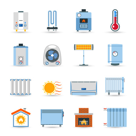 hot air: Heating devices boilers radiators and emitter or fireplace flat color icon set isolated vector illustration