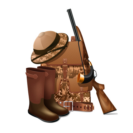 Vintage hunting equipment accessories and gear retro pictogram with rifle and sportive  camouflage backpack  abstract vector illustration