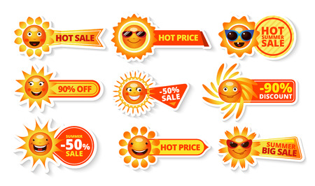 Summer sale tags with smiley sun and hot price with big discount labels isolated  vector illustration