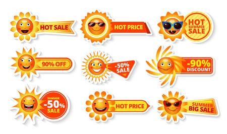 Zomer verkoop tags met smiley zon en hete prijs met grote korting etiketten geïsoleerde vector illustratie Stockfoto - 42462540