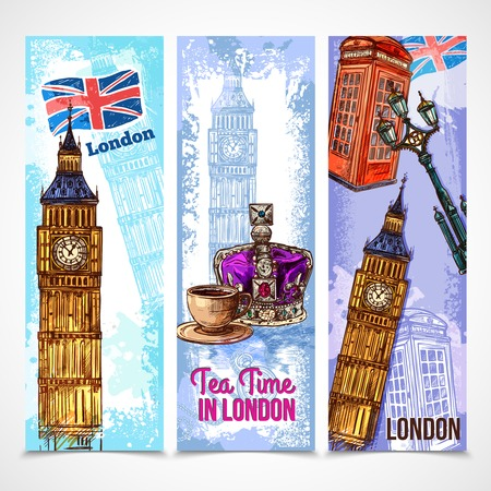 telephone booth: London vertical banner set with sketch tourist attraction symbols isolated vector illustration