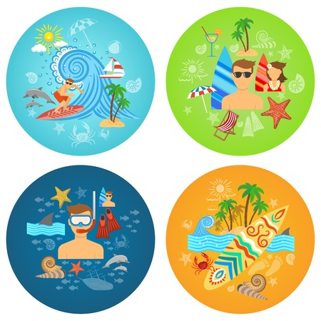 beach cruiser: Surfing design concept set with beach sport flat icons isolated vector illustration Illustration