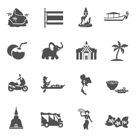 thailand symbol: Thailand travel black white icons set with transport palaces and palms flat isolated vector illustration
