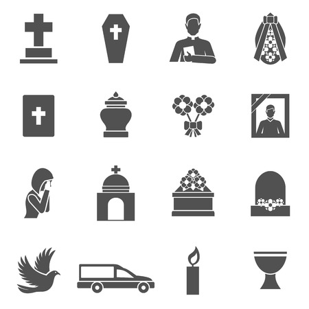 Funeral black icons set with cross coffin priest wreath isolated vector illustration