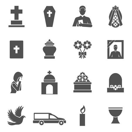 memorial cross: Iconos negros funerarios establecidos con la cruz sacerdote ofrenda floral ataúd ilustración vectorial Vectores