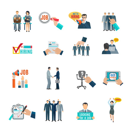 business deal: Personnel hiring and recruitment flat icons set isolated vector illustration Illustration