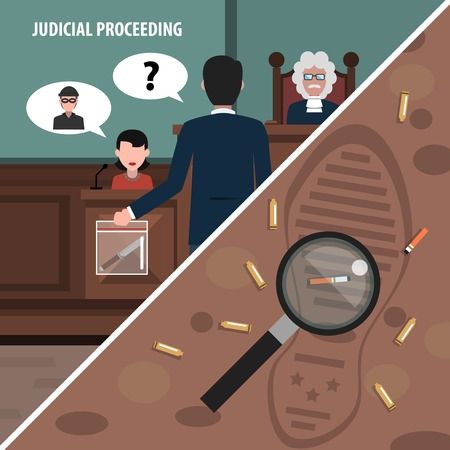 proceedings: Judgment services and law proceedings corners set isolated vector illustration