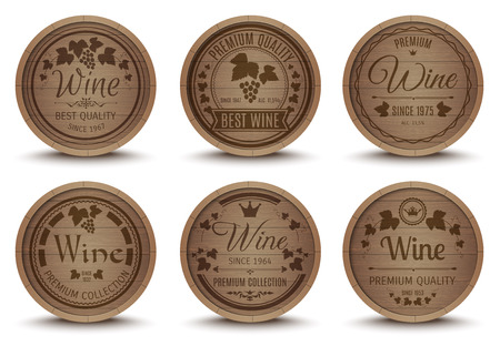oak barrel: Wine oak barrels special collection labels emblems set for best quality premium product abstract isolated vector illustration Illustration