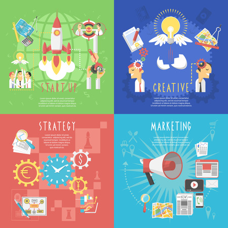 marketing strategy: Business startup global strategy and creative marketing concept 4 flat icons composition poster abstract isolated vector illustration