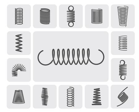 spring: Espiral de metal flexible brota iconos planos establecer ilustración vectorial aislado