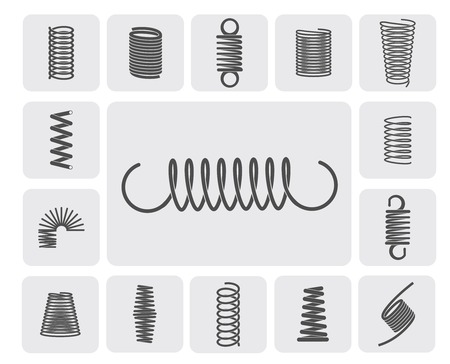 Flexible metal spiral springs flat icons set isolated vector illustration Çizim
