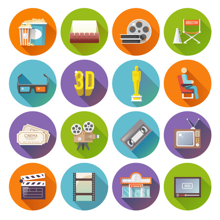 Cinema movie prize winning film production retro flat round shadow icons set bobbin abstract isolated vector illustration