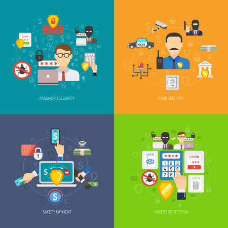 theft: Bank account online access protection operations safety 4 flat icons square composition banner abstract isolated vector illustration