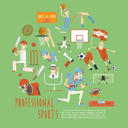 equipe sport: Professionnels des sports d'�quipe populaires comp�titifs correspond moments avec tous les lecteurs arbitres et accessoires notion abstraite affiche illustration vectorielle Illustration