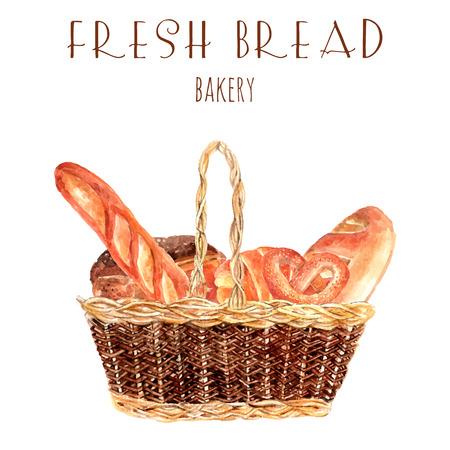 Bakkerij brood reclame poster met vintage mand vol verse tarwe hele broden en baguette abstracte illustratie