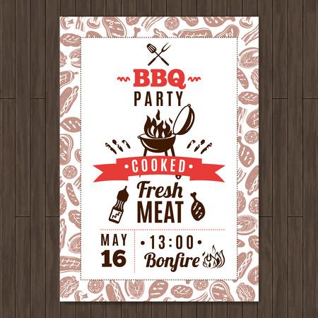 carne a la brasa: Barbacoa cartel promocional del partido con los elementos frescos de carne a la parrilla ilustraci�n vectorial