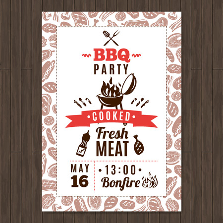 beer party: Bbq party promo poster with fresh grilled meat elements vector illustration