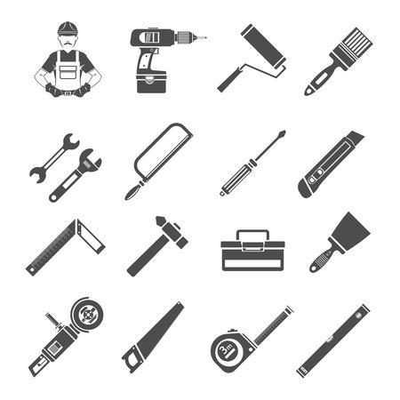 Gereedschap pictogrammen plat zwart set met moersleutel boorwerker geïsoleerde vector illustratie