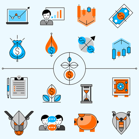 lock: Investment and banking line icons set with diagrams and arrows flat isolated  vector illustration Illustration