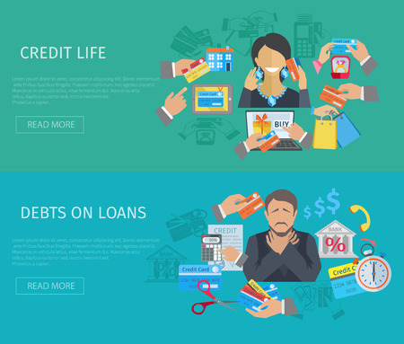 credit crisis: Credit life horizontal banner set with debts on loans flat elements isolated vector illustration Illustration