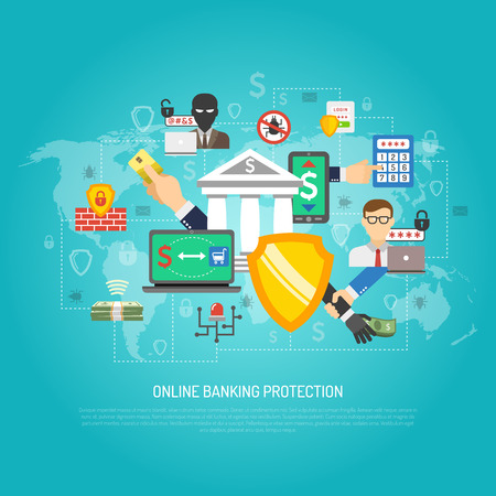 internet protection: Internet banking global money transfer operations protection safety guard software poster with shield symbol abstract vector illustration