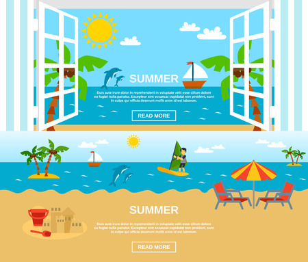 beach window: Summer and beach horizontal banners set with sea window surfing and palms flat isolated vector illustration Illustration