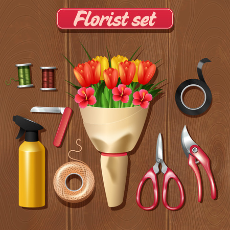 florist: Florist accessories set with realistic bunch of flowers on wooden background vector illustration