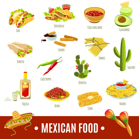 nachos: Mexican national tradition food drink and features bright color flat icon set isolated vector illustration Illustration