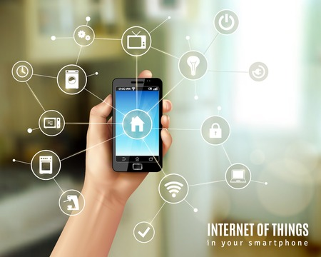 my home: Internet of things concept with realistic human hand holding smartphone vector illustration