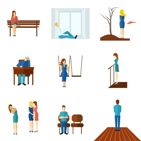 Lonely and unhappy people young and old man and woman flat color icon set isolated vector illustration