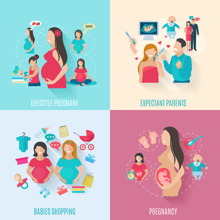 Pregnancy design concept set with parents and babies flat icons isolated vector illustration