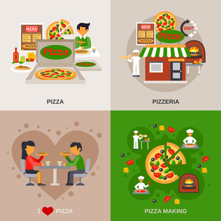 Pizzeria concept icons set with cooking date in a cafe and packaging flat isolated vector illustration Illustration