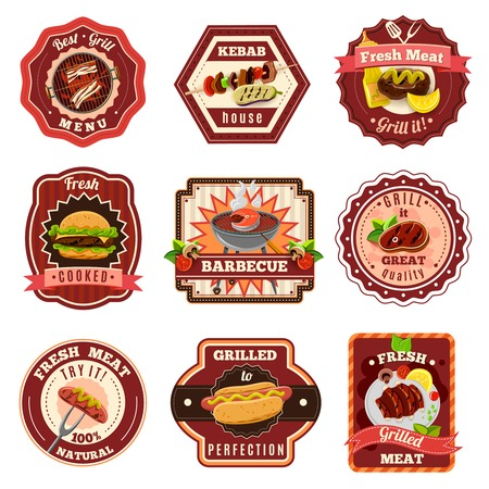 Barbecue and premium quality grill emblems set isolated vector illustration Illustration