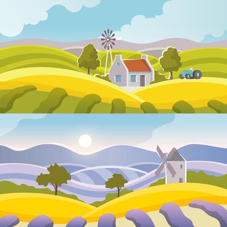 paisaje rural: Rural bandera paisaje conjunto con elementos de campo plana aislado ilustración vectorial