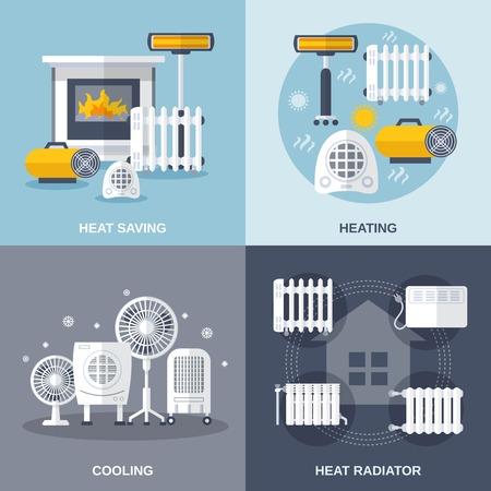 thermometer: Concepto de calefacción y refrigeración de diseño conjunto con el ahorro de calor y el radiador iconos planos aislados ilustración vectorial Vectores
