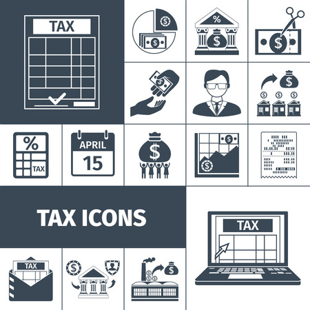 contribution: Taxes and fees payment and contribution date flat silhouette icon set isolated vector illustration