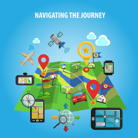 journeys: Navigation and location in journey and travel map with landmarks and flags flat color concept vector illustration