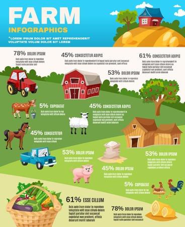 apfelbaum: Farm Infografiken mit Retro-Feld und Garten Cartoon-Elemente Vektor-Illustration festgelegt
