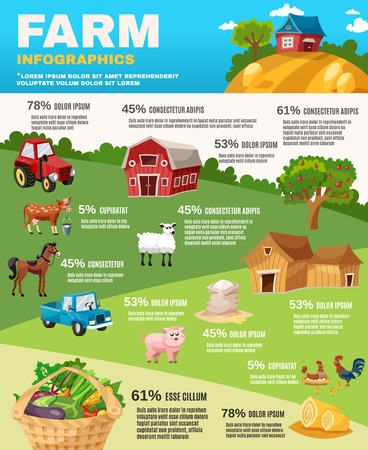 farm landscape: Farm infographics set with retro field and garden cartoon elements vector illustration