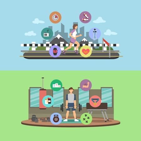 outdoor fitness: Sport people horizontal banner set with flat outdoor and gym fitness elements isolated vector illustration