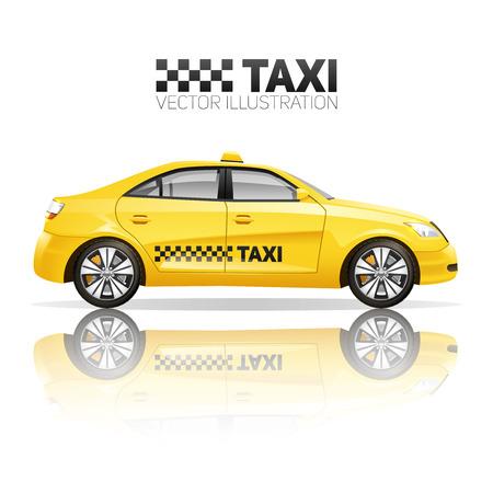 cab: Cartel de taxi con el coche de servicio p�blico amarilla realista con la ilustraci�n de la reflexi�n del vector